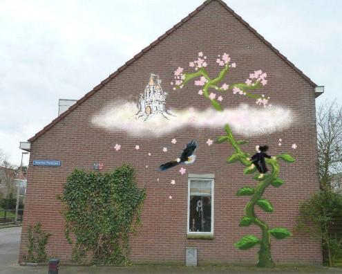 Muurschildering Hoek Lagenoord en Noordse Park laan